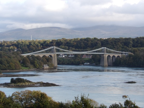 View from an Anglesey lay-by of the Menai Bridge